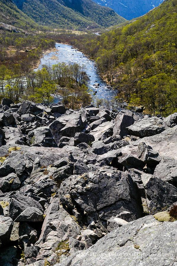 Norway, Frafjord. The Månadalen valley from the huge rockfall.