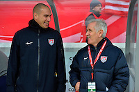 Offenbach, Germany, Friday, April 05 2013: Womans, Germany vs. USA, in the Stadium in Offenbach,  Headcoach Tom Sermanni (r, USA)..