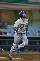 Andre Ethier (17) of the Rancho Cucamonga Quakes, on a rehab assignment for the Los Angeles Dodgers, runs to first base during a game against the Lancaster JetHawks at The Hanger on September 1, 2016 in Lancaster, California. Rancho Cucamonga defeated Lancaster, 6-3. (Larry Goren/Four Seam Images)