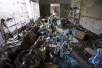 The destroyed Shizugawa Old People's home in Minamisanriku, Myiagi, Japan. The fishing port of Minamisanriku, Miyagi, Japan was devastated by the tsunami where the popultion was reduced from 18,000 to about 8,000