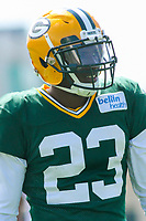 Green Bay Packers cornerback Damarious Randall (23) during a training camp practice on August 29, 2017 at Ray Nitschke Field in Green Bay, Wisconsin.   (Brad Krause/Krause Sports Photography)