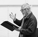 """King Lear"" rehearsed reading rehearsals. Old Vic Theatre. Director: Jonathan Miller. Barrie Rutter."