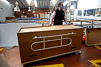 BOGOTA, COLOMBIA - MAY 14: A worker shows a hospital bed which in case to be needed can be used as a coffin in Bogota, May 14, 2020. The bed was designed by a Colombian company for COVID-19 patients amid the new coronavirus pandemic that infected 12.930 people and claimed 509 lives in the country. (Photo by Leonardo Munoz/VIEWpress)