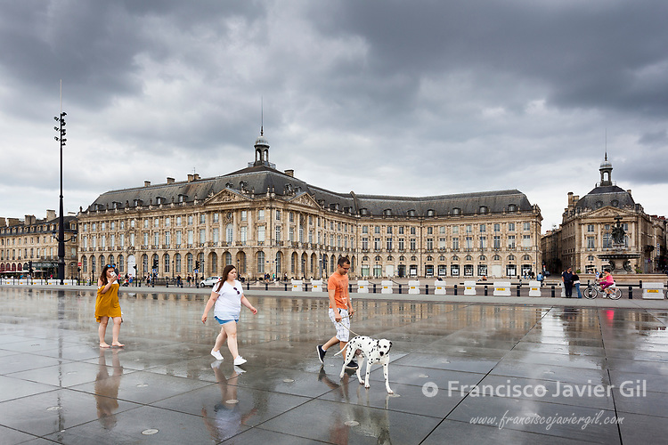 Water mirror fountain in the Place de la Bourse, Bordeaux, France