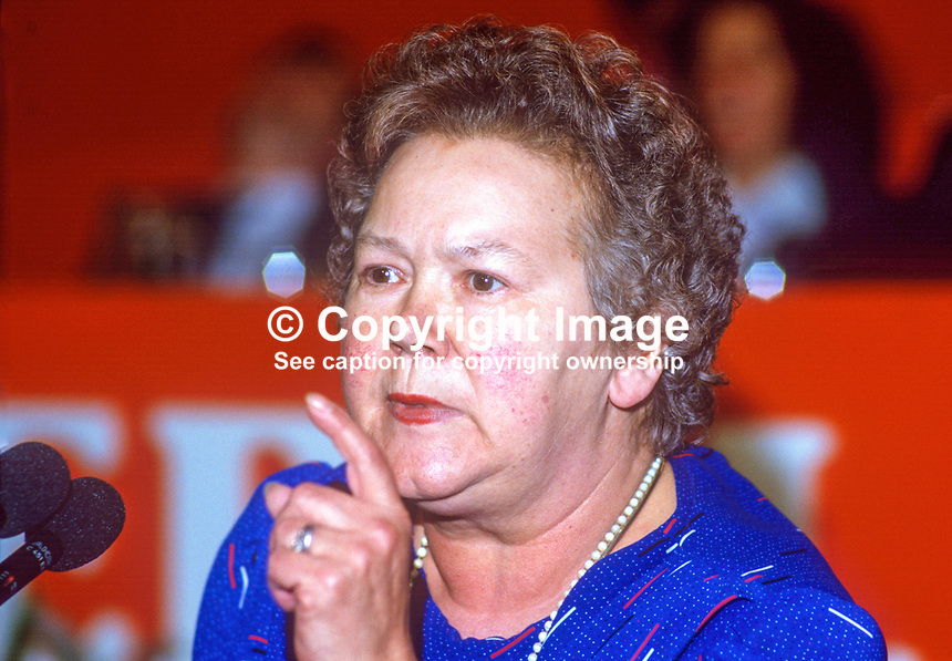Claire Brooks, PPC, prospective parliamentary candidate, Liberal Party, Lancaster, UK, speaking annual conference September 1986. 19860918CB2<br />