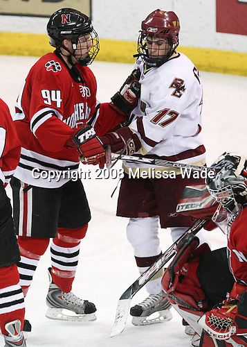 Tyler McNeely (NU - 94), Brian Gibbons (BC - 17) - The Northeastern University Huskies defeated the Boston College Eagles 3-2 in overtime on BC's senior night, Friday, March 7, 2008, at Conte Form in Chestnut Hill, Massachusetts.