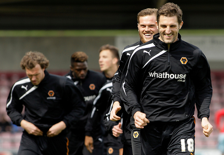 Wolverhampton Wanderers' Sam Ricketts and Richard Stearman share a joke.<br /> <br /> Photo by James Marsh/CameraSport<br /> <br /> Football - The Football League Sky Bet League One - Coventry City v Wolverhampton Wanderers - Saturday 26th April 2014 - Sixfields Stadium - Northampton<br /> <br /> &copy; CameraSport - 43 Linden Ave. Countesthorpe. Leicester. England. LE8 5PG - Tel: +44 (0) 116 277 4147 - admin@camerasport.com - www.camerasport.com