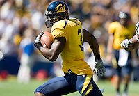 September 4, 2010:  Jeremy Ross of California runs down the field during punt return against UCLA at Memorial Stadium in Berkeley, California.  California defeated UCLA 35-7