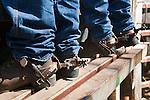Closeup of spurs on cowboy boots.  Mt Garnet Rodeo, Mt Garnet, Queensland, Australia