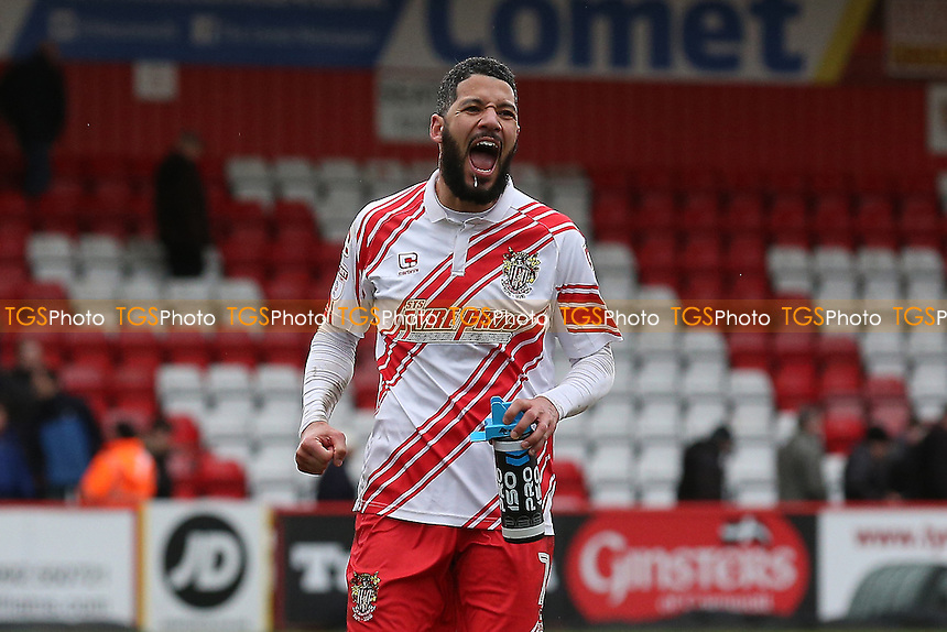 Jobi McAnuff of Stevenage celebrates during Stevenage vs Notts County, Sky Bet EFL League 2 Football at the Lamex Stadium on 4th March 2017