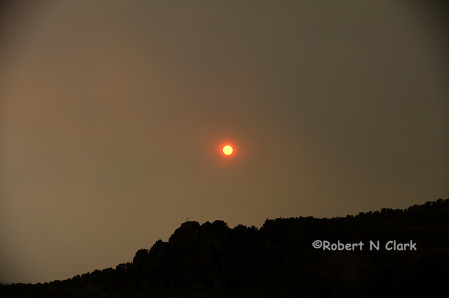 Fire sun from smoke from the Halstead fire