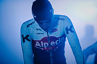 Reto Hollenstein (SUI/Katusha-Alpecin) at the pre-race team presentation<br /> <br /> Omloop Het Nieuwsblad 2018<br /> Gent &rsaquo; Meerbeke: 196km (BELGIUM)
