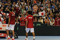 Japanese fans, MARCH 05, 2016 - Tennis : Japanese fans cheer their team at a break during games during the Davis Cup by PNB Paribas , World Group first round between Great Britain and Japan at The Barclaycard Arena, Birmingham, United Kingdom. (Photo by Rob Munro/AFLO)