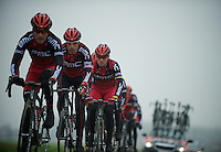 Paris-Roubaix 2012 recon..George Hincapie tucked behind the leader