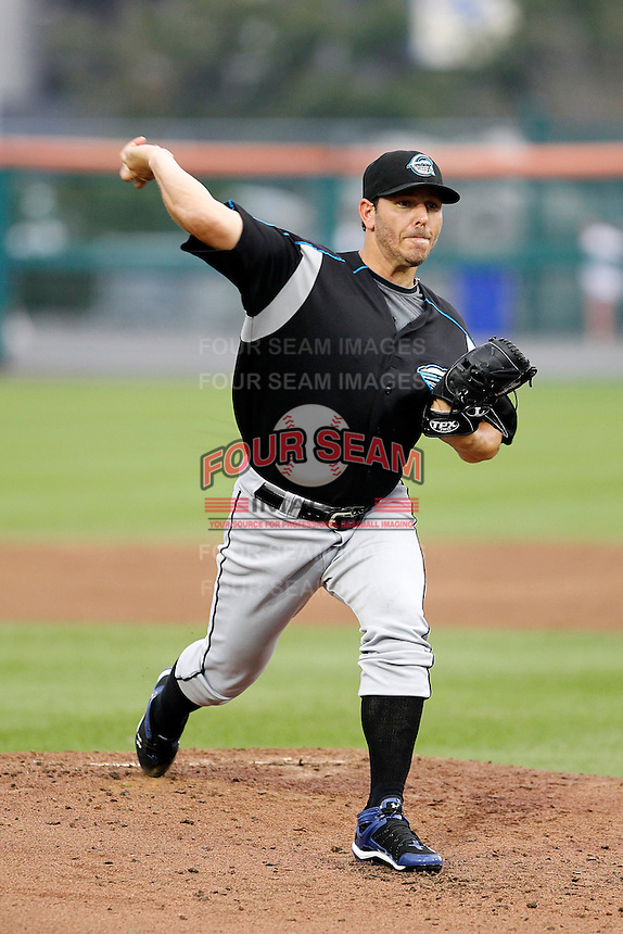 Syracuse Chiefs starting pitcher Yunesky Maya #27 delivers a pitch during a game against the Buffalo Bisons at Coca-Cola Field on September 1, 2011 in Buffalo, New York.  Syracuse defeated Buffalo 6-2.  (Mike Janes/Four Seam Images)