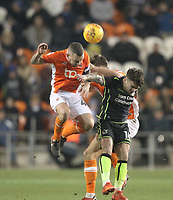 Blackpool's Jay Spearing jumps with  Bristol Rovers' Tom Broadbent<br /> <br /> Photographer Mick Walker/CameraSport<br /> <br /> The EFL Sky Bet League One - Blackpool v Bristol Rovers - Saturday 13th January 2018 - Bloomfield Road - Blackpool<br /> <br /> World Copyright &copy; 2018 CameraSport. All rights reserved. 43 Linden Ave. Countesthorpe. Leicester. England. LE8 5PG - Tel: +44 (0) 116 277 4147 - admin@camerasport.com - www.camerasport.com