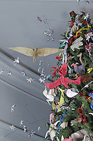 OrigamiUSA holiday tree at the American Museum of Natural History 2014. Pterosaurs designed by Fumiake Kawahata, Fernando Gilgado Gomez, and other designers.