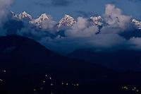 Night falls over Munsyari, in India's Kumaon Himalayas.