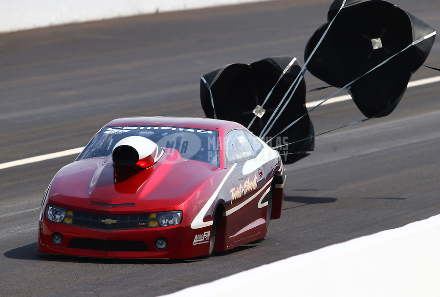 Aug. 31, 2013; Clermont, IN, USA: NHRA pro stock driver Paul Pittman during qualifying for the US Nationals at Lucas Oil Raceway. Mandatory Credit: Mark J. Rebilas-