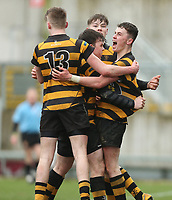 Wednesday 7th March 2018 | RBAI vs Royal School Armagh <br /> <br /> Niall Armstrong celebrates his try during the Ulster Schools Cup Semi-Final between RBAI and Royal School Armagh at Kingspan Stadium, Ravenhill Park, Belfast, Northern Ireland. Photo by John Dickson / DICKSONDIGITAL