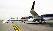 United States President-elect Donald Trump's plane, a Boeing 757-200 taxis along the tarmac at LaGuardia Airport before departing for Ohio in New York, New York, USA, 08 December 2016.<br /> Credit: Justin Lane / Pool via CNP