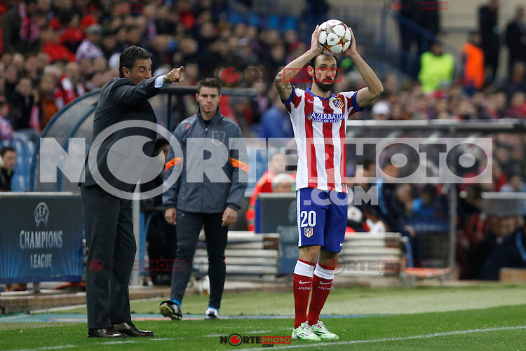 Atletico de Madrid´s Juanfran and Olympiacos´s coach Michel during Champions League soccer match between Atletico de Madrid and Olympiacos at Vicente Calderon stadium in Madrid, Spain. November 26, 2014. (ALTERPHOTOS/Victor Blanco) /NortePhoto
