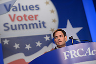 October 11, 2013  (Washington, DC)   Senator Marco Rubio (R-FL) addresses attendees at the Family Research Council's Values Voter Summit October 11, 2013.  (Photo by Don Baxter/Media Images International)