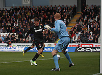 Gary Hooper scores the opener in the St Mirren v Celtic Clydesdale Bank Scottish Premier League match played at St Mirren Park, Paisley on 20.10.12.