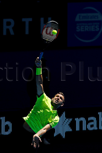 04.01.2017. Perth Arena, Perth, Australia. Mastercard Hopman Cup International Tennis tournament. Dan Evans (ENG) serves during his game against Richard Gasquet (FRA). Gasquet won 6-4, 6-2.