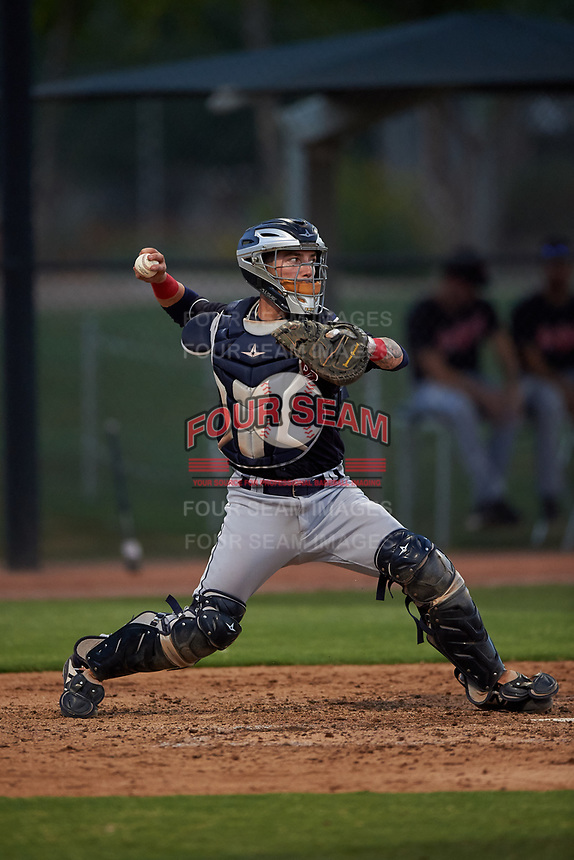 AZL Indians Blue catcher Michael Amditis (8) throws to second base during an Arizona League game against the AZL White Sox on July 2, 2019 at Camelback Ranch in Glendale, Arizona. The AZL Indians Blue defeated the AZL White Sox 10-8. (Zachary Lucy/Four Seam Images)