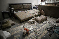 A house destroyed by heavy shelling is seen at the Al-Amarya neighborhood of the Syria's northern city of Aleppo.