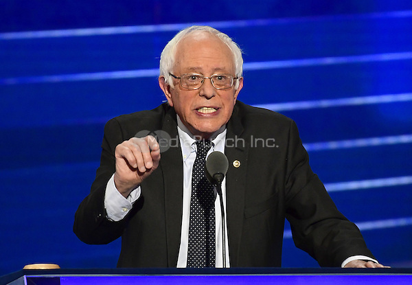 United States Senator Bernie Sanders (Independent of Vermont) makes remarks at the 2016 Democratic National Convention at the Wells Fargo Center in Philadelphia, Pennsylvania on Monday, July 25, 2016.<br /> Credit: Ron Sachs / CNP/MediaPunch<br /> (RESTRICTION: NO New York or New Jersey Newspapers or newspapers within a 75 mile radius of New York City)