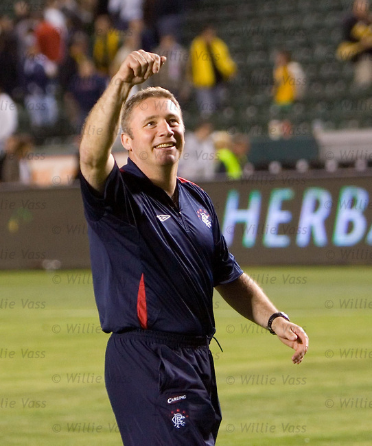 Ally McCoist waves to the Galaxy fans