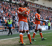 Blackpool's Nathan Delfouneso celebrates scoring his side's second goal in injury time with team-mate Michael Nottingham<br /> <br /> Photographer Stephen White/CameraSport<br /> <br /> The EFL Sky Bet League One - Blackpool v Fleetwood Town - Monday 22nd April 2019 - Bloomfield Road - Blackpool<br /> <br /> World Copyright © 2019 CameraSport. All rights reserved. 43 Linden Ave. Countesthorpe. Leicester. England. LE8 5PG - Tel: +44 (0) 116 277 4147 - admin@camerasport.com - www.camerasport.com<br /> <br /> Photographer Stephen White/CameraSport<br /> <br /> The EFL Sky Bet Championship - Preston North End v Ipswich Town - Friday 19th April 2019 - Deepdale Stadium - Preston<br /> <br /> World Copyright © 2019 CameraSport. All rights reserved. 43 Linden Ave. Countesthorpe. Leicester. England. LE8 5PG - Tel: +44 (0) 116 277 4147 - admin@camerasport.com - www.camerasport.com