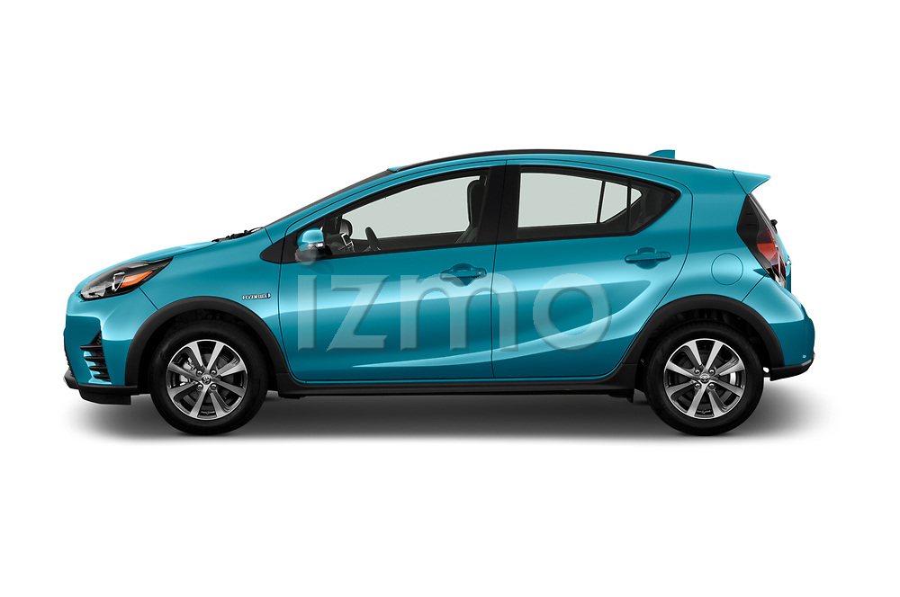 Car driver side profile view of a 2018 Toyota Prius c One 5 Door Hatchback