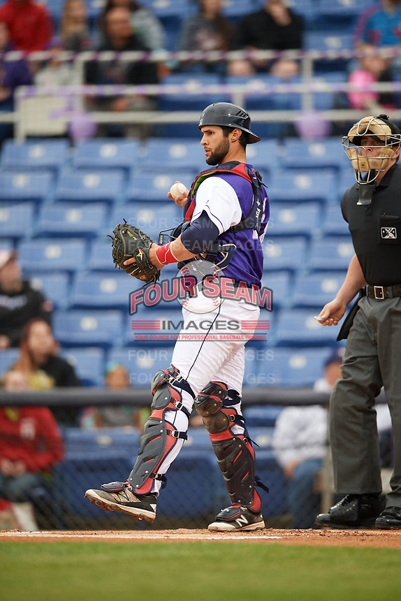 Binghamton Rumble Ponies catcher Colton Plaia (26) throws the ball back to the pitcher during a game against the Akron RubberDucks on May 12, 2017 at NYSEG Stadium in Binghamton, New York.  Akron defeated Binghamton 5-1.  (Mike Janes/Four Seam Images)