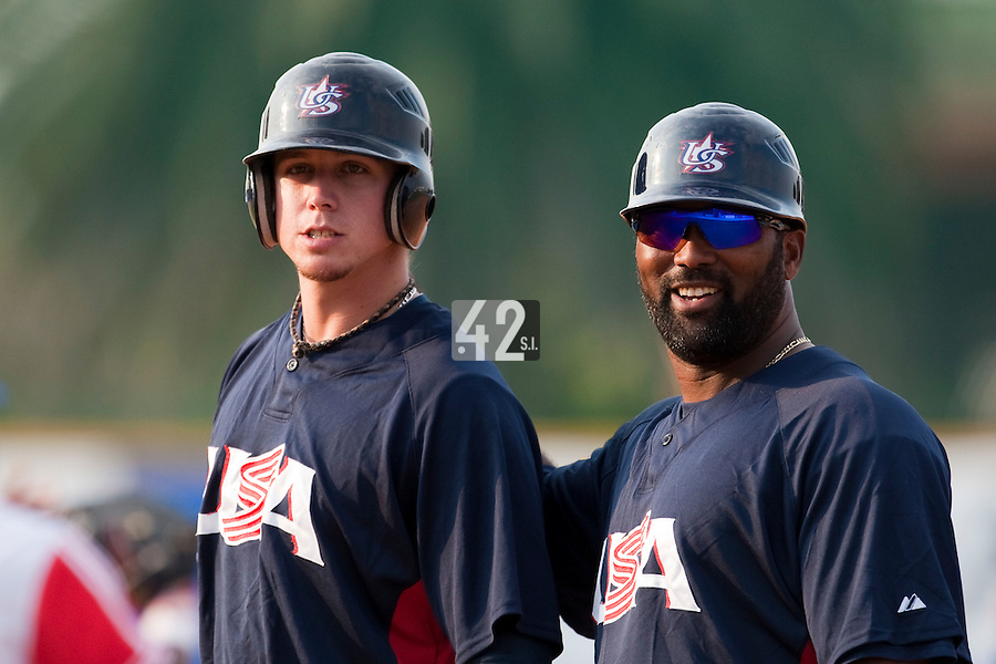 27 September 2009: Justin Smoak of Team USA is seen next to Coach Emie Young during the 2009 Baseball World Cup gold medal game won 10-5 by Team USA over Cuba, in Nettuno, Italy.