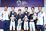 (L-R) <br />    Koschel Christoph, <br />  Shunsuke Terui, <br />  Akane Kuroki, <br /> € Kazuki Sado, <br /> Masanao Takahashi, <br />  € Shinichi Terui (JPN), <br /> AUGUST 20, 2018 - Equestrian : <br /> Dressage Team Medal ceremony <br /> at Jakarta International Equestrian Park <br /> during the 2018 Jakarta Palembang Asian Games <br /> in Jakarta, Indonesia. <br /> (Photo by Naoki Nishimura/AFLO SPORT)