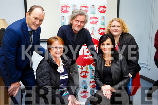 Attending the launch of the Donal Walsh Live Life Film competition at the Kerry College of Further Education on Tuesday last, seated l-r, Elma Walsh and Mary Lucey (Principal) KCFE). Standing l-r, TJ O'Connor (Manager of Bons Secours Hospital Tralee), Maurice Galway (Dingle Film Festival) and Helen Courtney Power (Chapter 23 Credit Union).