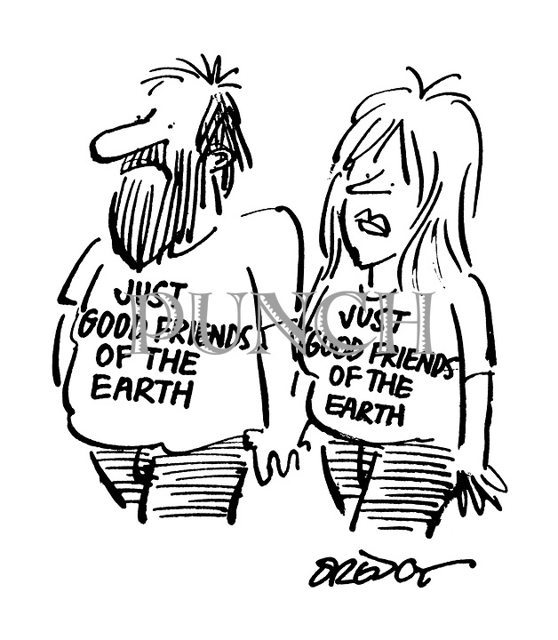 "(couple wearing T-shirts with slogan: ""Just Good Friends of the Earth"")"