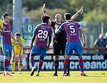Inverness Caley v St Johnstone&hellip;08.04.17     SPFL    Tulloch Stadium<br />Ref Stephen Finnie shows Larnell Cole a straight red car<br />Picture by Graeme Hart.<br />Copyright Perthshire Picture Agency<br />Tel: 01738 623350  Mobile: 07990 594431