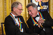 Comedian David Letterman (L) and actor Dustin Hoffman attend the Kennedy Center Honors reception at the White House on December 2, 2012 in Washington, DC. The Kennedy Center Honors recognized seven individuals - Buddy Guy, Dustin Hoffman, David Letterman, Natalia Makarova, John Paul Jones, Jimmy Page, and Robert Plant - for their lifetime contributions to American culture through the performing arts..Credit: Brendan Hoffman / Pool via CNP
