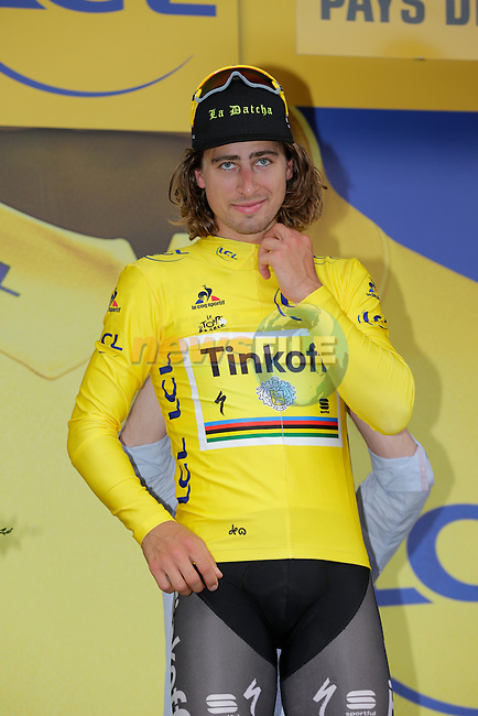 Race leader Peter Sagan (SVK) Tinkoff retains the leader's Yellow Jersey at the end of Stage 3 of the 2016 Tour de France, running 223.5km from Granville to Angers, France . 4th July 2016.<br />