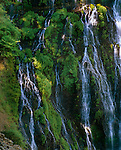 Burney Falls State park, CA:  Detail of falling water on mossy rock wall, from 129ft, Burney Falls on the Modoc Plateau, Cascade Range, McArthur-Burney Falls Memorial State Park