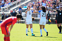 Cary, NC - Sunday October 22, 2017: Christen Press celebrates her goal with Alex Morgan during an International friendly match between the Women's National teams of the United States (USA) and South Korea (KOR) at Sahlen's Stadium at WakeMed Soccer Park.