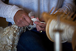 Natalie Redding, shepherdess and owneer of Namaste Farms, demonstrated wool spinning at Lambtown:  A Sheep & Lamb Festival at the Dixon Fairgrounds on Saturday, October 3, 2015 in Dixon, California.  Photo/Victoria Sheridan