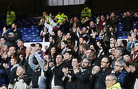 Swansea City Fans sing during the Barclays Premier League match between Everton and Swansea City played at Goodison Park, Liverpool