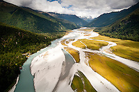 An aerial view over Arawata River and its valley - South Westland, West Coast, New Zealand