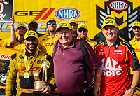Sep 16, 2018; Mohnton, PA, USA; NHRA funny car driver J.R. Todd (left) celebrates with team owner Connie Kalitta (center) and teammate Doug Kalitta after winning the Dodge Nationals at Maple Grove Raceway. Mandatory Credit: Mark J. Rebilas-USA TODAY Sports