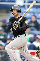 May 3, 2009:  Nick Gorneault of the New Hampshire Fisher Cats, Eastern League Class-AA affiliate of the Toronto Blue Jays, at bat during a game at the NYSEG Stadium in Binghamton, NY.  Photo by:  Mike Janes/Four Seam Images